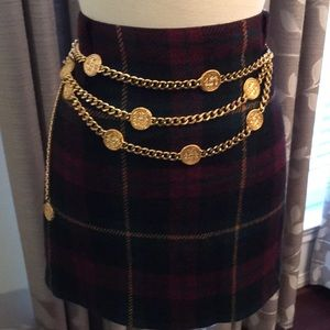 Ralph Lauren Short Plaid Wool Skirt